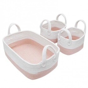 Living Textiles 3PC Cotton Nursery Storage Pink