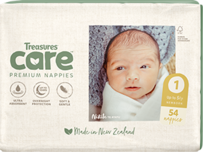Treasures Care Newborn Size 1 Nappies Up To 5kg bulk pack 54pk