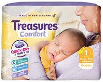 Treasures Comfort Newborn Size 1 Nappies Up To 5kgs 26pk